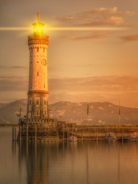 lindau bavaria germany painterly paintography fine art print lighthouse lindau bavaria germany europe
