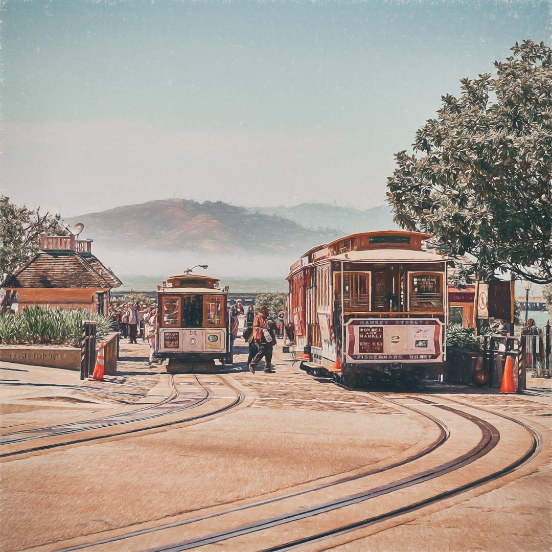 SAN FRANCISCO PAINTERLY CABLE CARS