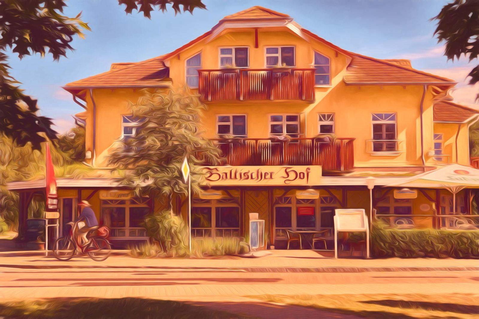 ahrensoop baltischer hof germany painterly paintography fine art print europe mecklenburg vorpommern darss hotel bicycle street clouds house building restaurant